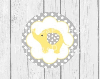 Baby Elephant Stickers Envelope Seals Yellow Baby Shower Envelope Seal - SES371