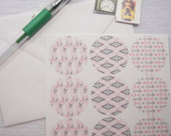 Tribal Stickers Feathers Arrows Envelope Seals Pink Gray 24 Stickers