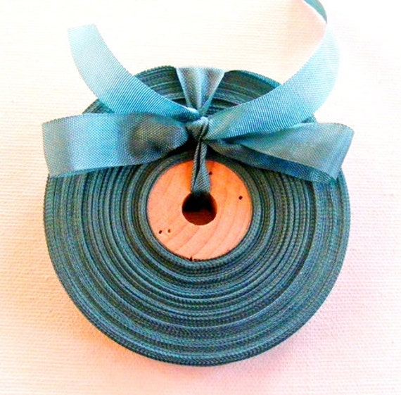 Vintage French 1930's-40's Woven Ribbon -Milliners Stock- 5/8 inch Peacock Green