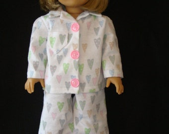 """18 """" doll clothes/Dotted Hearts/Flannel pajamas and slippers/READY TO SHIP/4piece set fits 18"""" girl doll like American Girl"""