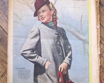 Vintage french magazine, le Petit Echo de la Mode, August 13 1939