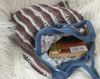 Crocheted handbag; neutrals