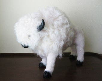 Vintage White Bison, Fur Covered Figure, Faux Taxidermy
