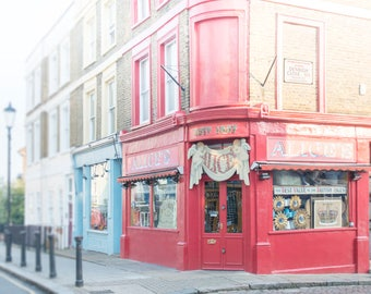 London Photograph - Alice's on Portobello Road, London Art Print, Red Antique Shop, England Fine Art Photograph, Large Wall Art