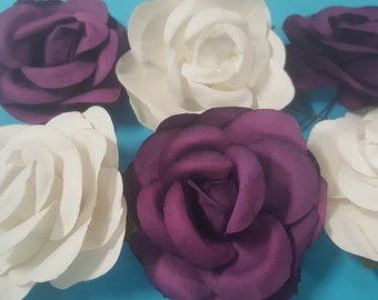 12 piece white and purple artificial paper flower 2 1/2 inch