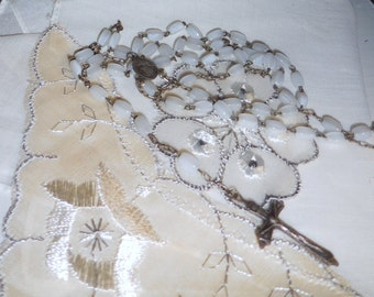First Holy Communion White Rosary / Child's  Rosary / Small  White Rosary Beads  / free shipping