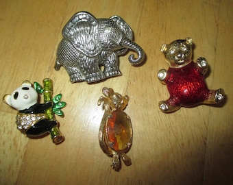 vintage costume jewelry  /  4 animal brooches