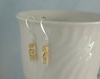 January sale Faceted square citrine briolettes dangle earrings E0014SS