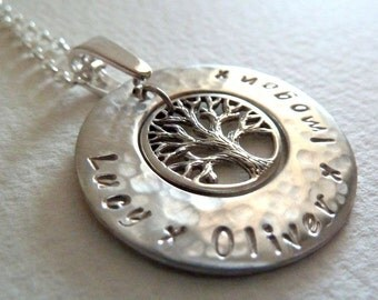 """Doublesided stamping version of Personalised """"Tree of Life"""" pendant in sterling silver - no chain"""