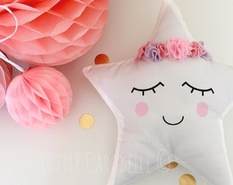 Star cushion pillow with flower crown. Soft cotton, pale grey print with pastel pinks felt flower crown. Perfect to brighten up any nursery