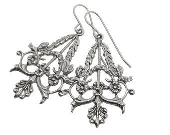 Silver plated floral earrings, victorian silver drop, silver earrings, silver botanical earrings