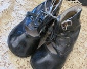 Antique Black Leather Infant Child Shoes Boots Booties Buckle