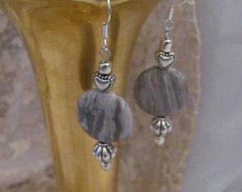 Earrings Beautiful Gray Silver Polished Stone Bead Earrings