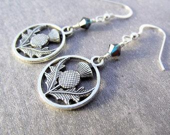 silver earrings, scottish earrings, thistle earrings, drop earrings, sterling silver earrings