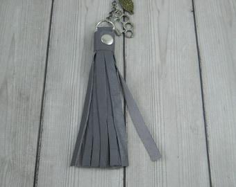 Tassel, Tassel Necklace, Leather Tassel Necklace, Long Tassel Necklace, Boho Necklace, Charm Beads, Charm Necklace, Purple Necklace