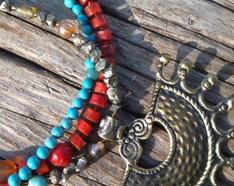 Sun spirit - Pyrite, turquoise, coral and brass beaded necklace