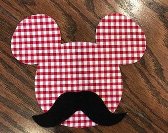 Mustache Mickey Iron On Applique, You Choose Fabric