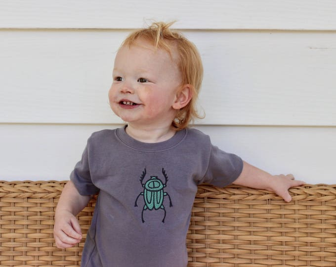 Featured listing image: Slate Gray Beetle Shirt // Baby Boy Bug Infant Shirt// Embroidered Kid Top // Boy's Summer Top// Modern Boy's Clothing// Boho Baby