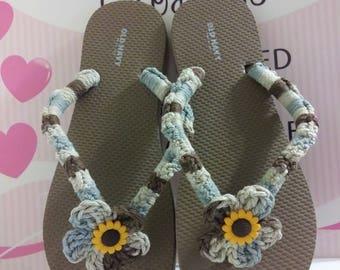 Flip Flops, Sandals, Beachwear, Shoes, Summer Shoes, Crochet Flip Flops
