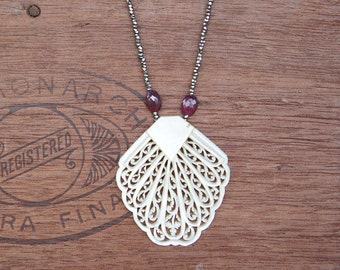 Antique Assebmlage Filigree Mother of Pearl Dress Clip Necklace with Rubies and Antique Silvered Glass Beads