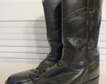 vintage Black leather Boots - Ropers by Justin Boots - size 7 1/2 B (Medium) womens sizing