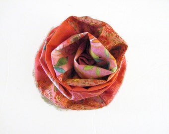Pink Multi Print Fabric Flower Brooch Valentine Gift Mother's Day