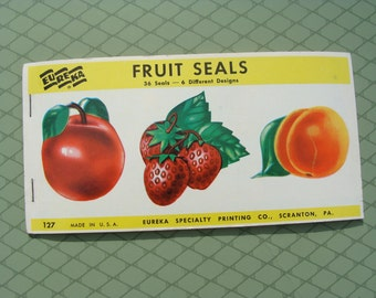 Cute Vintage Fruit Stickers ~ partial book