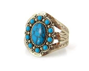 Southwestern Faux Turquoise Bracelet • Boho Chic Blue Silver-tone Cuff • Vintage 1970s Jewelry