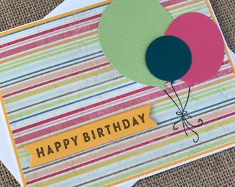 HAPPY BIRTHDAY with Colorful Balloons - handmade greeting card