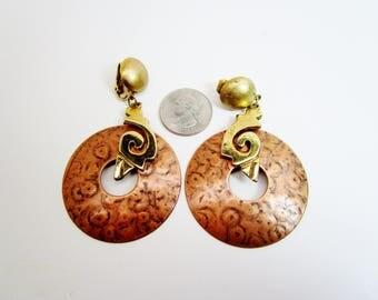 "Vintage Copper Pounded Big Hoop Dangle Earrings Mod Ethnic Bohemian Hippie 70's 3 3/4"" Retro Two Tone Art Deco  Runway Statement"