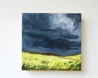 "Mustard Glow • original 4 x 4"" oil painting"
