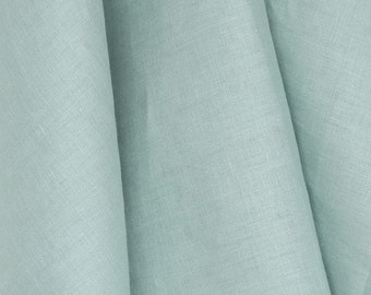 Tuscany Linen, Aqua blue linen drapes, curtain panels, rod pocket panels