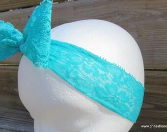 Teal Lace Headband/ Lace headband/ Lace Bow/ Newborn Bow/ Photography Prop/ Newborn Photos/ Aqua Headband/ Baby Girl/ Headband/ Toddler