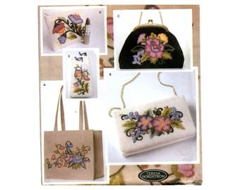 Embroidered Purses Pattern Tote Bags Cluth Evening Bag Eyeglass Case Change Purse Simplicity 5450 Floral Crewel Embroidery Sewing Pattern