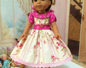 "Wellie Wishers ""Sweet Easter""  Dress, slip, and necklace with optional hot pink side bow shoes fits WW by American Girl"