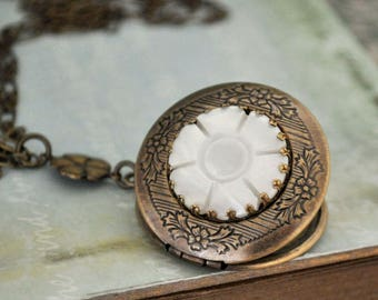 THE FLOWER LOCKET vintage carved shell flower locket necklace in antique brass