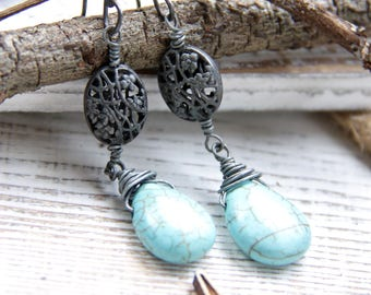 Silver and Ice - Turquoise Wire Wrapped Briolettes
