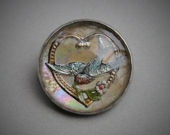 Antique Reverse Painted Swallow Brooch / Victorian Bridal Jewelry