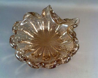 Vintage Murano Amber Glass Dish, Mid Century Bullicante Glass Bowls, Amber Color Bullicante B, Murano Glass, Italian Art glass. *USA ONLY*
