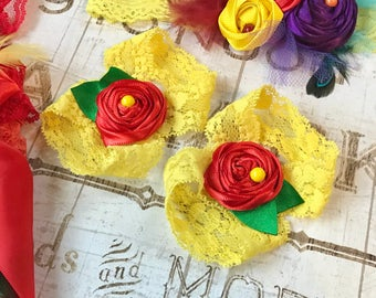 Barefoot Sandals, Baby Girl Yellow Red Green Fabric Flower Rose Lace Elastic Summer Shoes Stretchy First Birthday Outfit Newborn Photo Prop