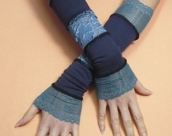 Gypsy Armwarmers Lace Dark Navy Blue Sea Green Elbow Long Gloves Special Occasion, Armstulpen  Fingerless, Belly Dance, Victorian Arm Cover