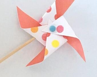 Lime and Pink Cupcake Pinwheels,  Polka Dot Sparkle
