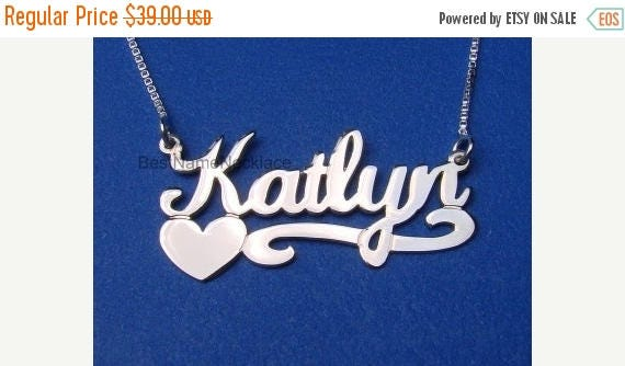 15% Off Silver Name Necklace, Bridal Shower Gift, Bridesmaid Gift, Custom Necklace, Personalized Necklace, Custom nameplate necklace, Bridal