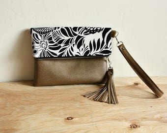 Foldover floral clutch with faux leather/ vegan leather trim tassel Wrist strap  --READY TO SHIP--
