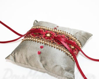 Gray and Burgundy Ring Bearer Pillow // Handmade with Silk Dupioni // Modern Indian Wedding // Hand Embroidered