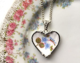 Blue forget me nots, Shelley fine bone china, broken china jewelry, heart pendant necklace, made from a broken antique porcelain plate