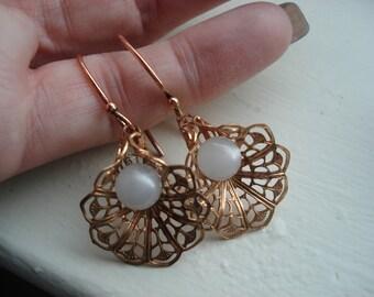 Vintage Copper Filigree White Moonstone Moonglow Pearl Dangle Earrings