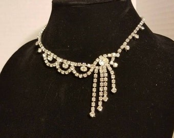 Formal Vintage 1950s Rhinestone  Necklace