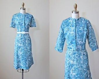 1950s Dress - Vintage 50s Dress and Bolero - Abstract Toile Blue Cotton Day Dress and Jacket XL XXL - Ice Forest Dress