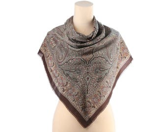 Bohemian Scarf Wrap 80s Large Wool Like Shawl Paisley Print Scarf Rustic Brown Grey Vintage Retro Fringed Soft Scarf 30 inch Gift for Her